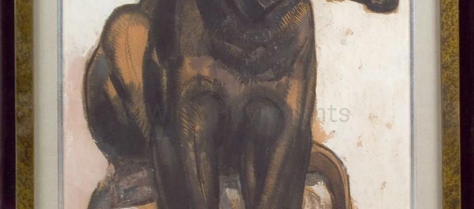 Pantère noire assise